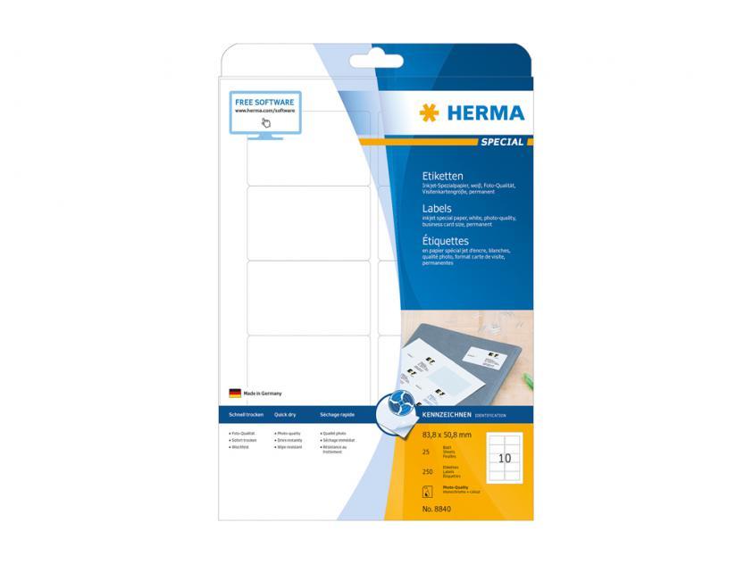 Αυτοκόλλητες Ετικέτες Herma Για InkJet Εκτυπωτές 83,8 x 50,8 25 sheets (8840)