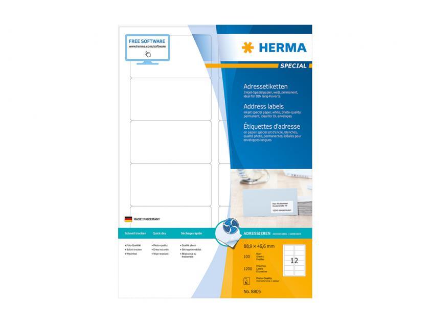 Αυτοκόλλητες Ετικέτες Herma Για InkJet Εκτυπωτές 88,9 x 46,5 100 sheets (8805)