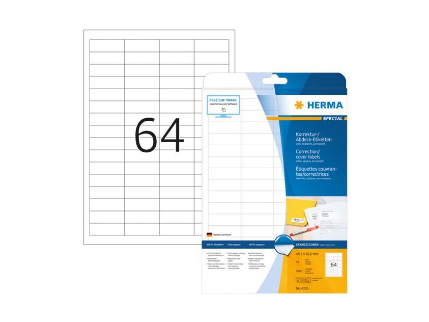 Αυτοκόλλητες Ετικέτες Διόρθωσης / Επικάλυψης Herma 48,3Χ16,9 25 sheets (4226)