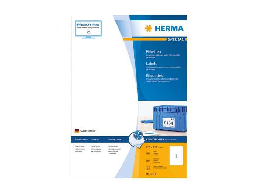 Αυτοκόλλητες Ετικέτες Herma Για InkJet Εκτυπωτές 210,0 x 297,0 100 sheets (4819)