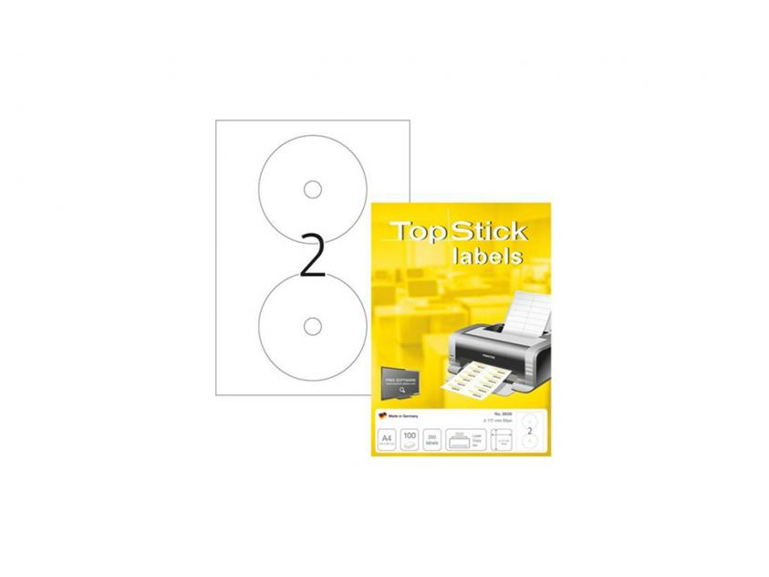 Αυτοκόλλητες Ετικέτες TopStick 117mm CD 100-Sheets (8656)