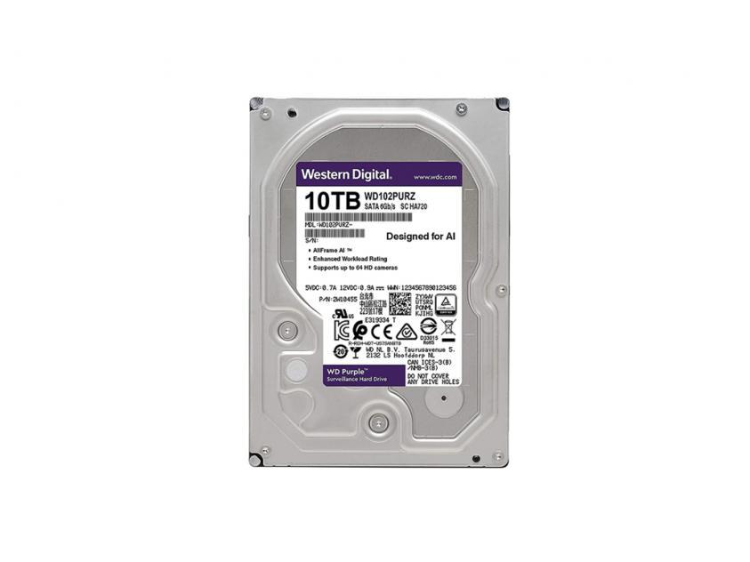Εσωτερικός Σκληρός Δίσκος HDD Western Digital Purple 10TB SATA III 3.5-inch (WD102PURZ)