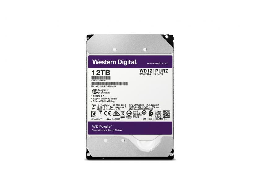 Εσωτερικός Σκληρός Δίσκος HDD Western Digital Purple 12TB SATA III 3.5-inch (WD121PURZ)